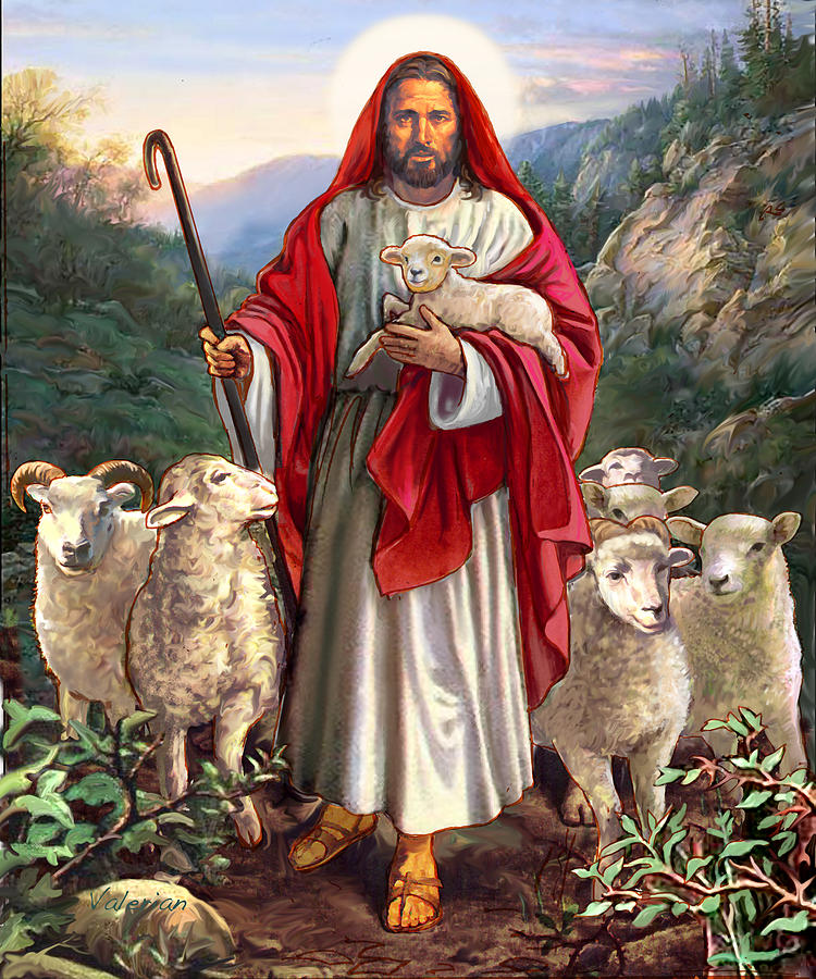 Jesus with sheep