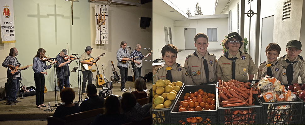 Music concert entertainers and Boy Scouts at FoodBank event